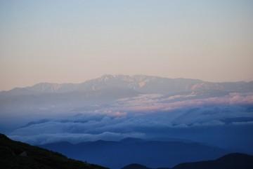 大きい白山の朝焼け