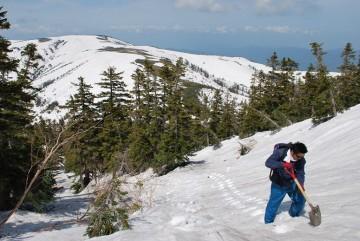 薬師峠の登りは、小屋の者がステップを切り、登山者の安全確保に努めています。