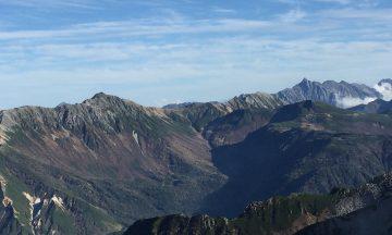 岩苔小谷、水晶岳、赤牛岳。パノラマでした。